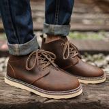夏季马丁靴男短靴真皮靴子低帮沙漠靴复古皮靴英伦军靴圆头工装鞋