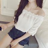 2016夏装新款大码宽松上衣短袖T恤女韩版一字肩显瘦雪纺打底衫潮