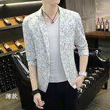 夏季碎花小西装男韩版修身薄款潮发型师个性时尚休闲西服长袖外套
