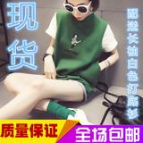 女装韩版刺绣毛线针织背心外穿短款套头马甲马夹春款春季春秋绿色