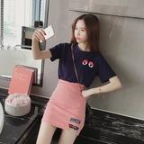 夏季新款韩版女装显瘦刺绣眼睛短袖T恤+时尚条纹半身包臀裙子套装