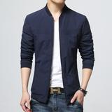 春夏季青年男士夹克薄款外套韩版修身潮流纯色商务休闲春秋棒球服