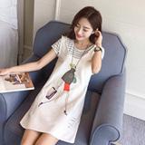 1芮逸-fb99 新款2016夏装韩版女装条纹T恤背带裙两件套连衣裙E-23