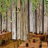3D立体大型壁画木板花滕 客厅电视沙发背景墙壁纸咖啡厅个性墙纸
