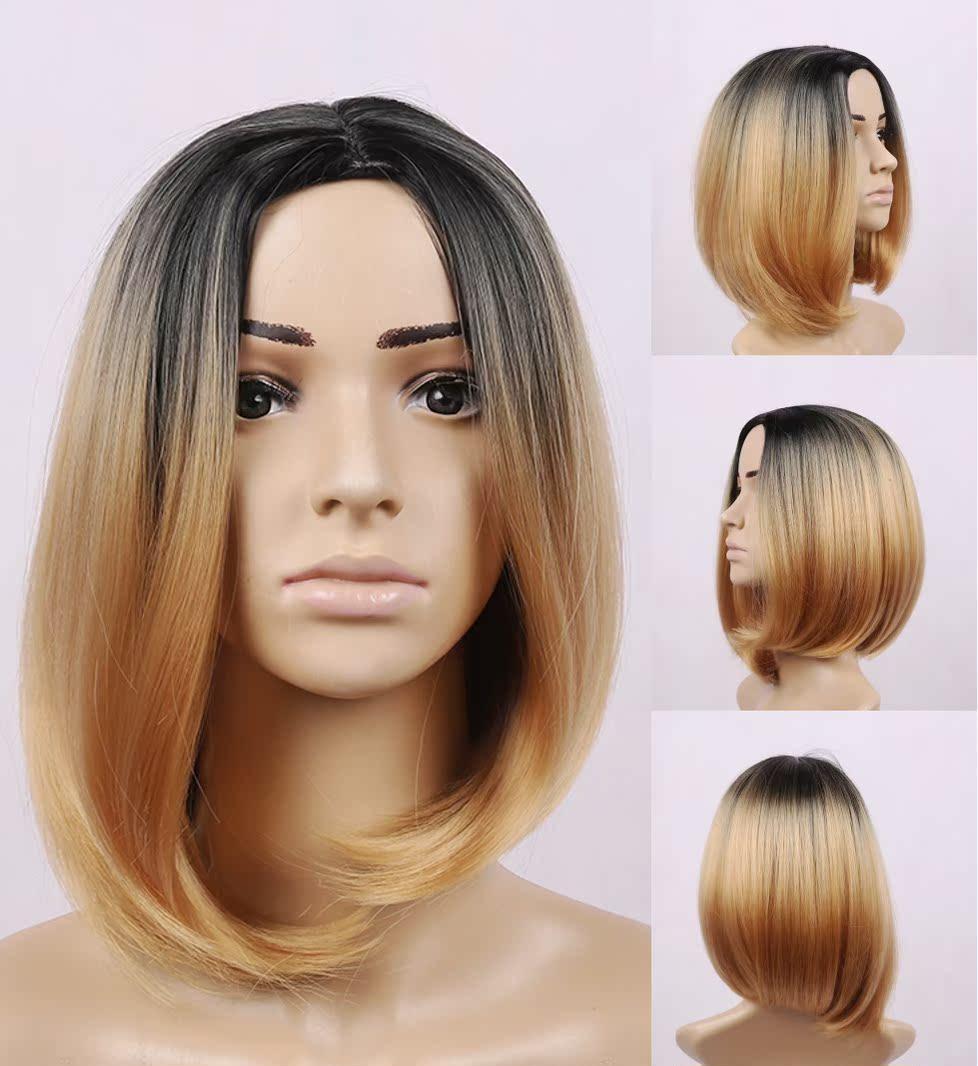 黑棕假发女生中分刘海逼真发型假发套梨花头短卷发 蓬松中分短发