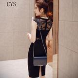 气质夏装名媛收腰修身显瘦性感连衣裙夏季中长款包臀裙子女蕾丝裙