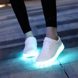 春夏季闪光灯发光鞋七彩荧光情侣usb充电led灯光夜光鞋男女款板鞋