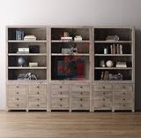 美式乡村复古做旧电视柜法式欧式风化白实木电视机组合柜储物柜