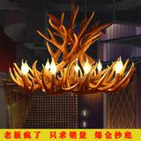 欧式鹿角吊灯 美式乡村酒店咖啡厅酒吧客厅走廊灯饰 树脂复古壁灯