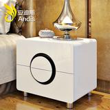 白色时尚简约现代白亮光烤瓷钢琴烤漆特价床头柜储物柜板式床头柜