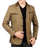 春秋男士西装领夹克衫中年纯棉商务休闲薄款修身外套大码爸爸服装