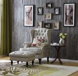 美式老虎椅凳欧式拉扣高背单人沙发椅子新古典客厅卧室布艺老虎椅