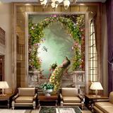 3d浮雕过道墙纸壁纸欧式电视背景墙纸玄关壁画无缝无纺布走廊孔雀