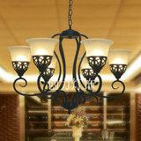 欧式客厅吊灯 家装餐厅灯饰 田园美式灯具复古大气新中式铁艺吊灯