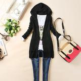 春秋冬装新韩版女装连帽修身长袖中长款针织衫开衫外套多色可选
