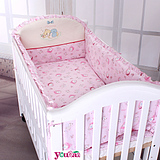 优伴新款卡通定制宝宝床上用品套件婴儿床围新生儿纯棉透气四件套
