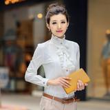 2016秋冬装新款韩版长袖女衬衫休闲职业白色雪纺衫 衬衫女修身衬
