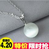 银项链吊坠男女 韩版925银短款锁骨链 韩国月光石水晶项坠饰品