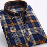 格子衬衫男 长袖 春季修身磨毛男士衬衫休闲韩版男装加厚衬衣青年