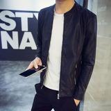 Haerpy春秋青年皮衣男士韩版修身短款立领皮夹克PU机车潮男装外套