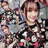 夏季新款韩版大码女装原宿BF风显瘦休闲短袖T恤裙 史努比连衣裙女