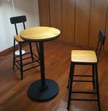 碳化实木酒吧椅吧台高脚阳台书房咖啡甜品店椅凳火烧木模艺尔家具