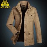 AFS JEEP男士大码纯棉立领夹克衫中长款春季秋茄克衫薄款外套上衣