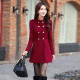 2015冬装新款韩版大码女装秋冬季新品中长款双排扣毛呢大衣外套女