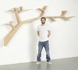 简约创意墙壁树形实木书架壁柜置物架隔板展示架美式壁挂装饰架