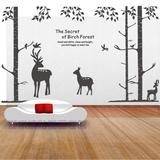 客厅卧室大树墙贴纸电视背景无框画硅藻泥装饰壁纸壁画床森林小鹿