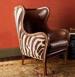 新品单人沙发美式布艺老虎椅样板房欧式沙发皮艺休闲椅客厅书房椅