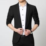 春季装新款男士加肥加大码韩版修身单便西装外套休闲小西服纯棉色