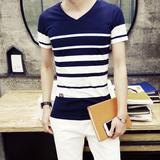 2016新款夏装男士短袖t恤汗衫条纹V领日系海魂衫韩版青少年体恤潮