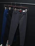 高弹力薄牛仔裤女春秋 韩版百搭小脚裤长裤子 修身显瘦高腰铅笔裤