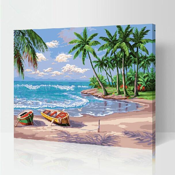 数字油画特价diy油画 客厅风景结婚人物手绘装饰画40*50 假日海滩图片