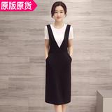2016夏季新款韩版纯色显瘦背带裙中长款两件套装裙包臀连衣裙学生
