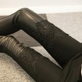 2015冬季蕾丝PU皮裤拼接外穿打底裤女新款高腰性感加绒加厚小脚裤