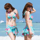 韩国显胸游泳衣女小胸聚拢裙式比基尼四件套钢托性感花朵分体泳装
