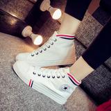 秋冬新款白色帆布鞋女纯色经典高帮板鞋潮学院风拼接撞色黑白短靴