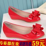 豆豆鞋女夏季漆皮蝴蝶结孕妇浅口单鞋内增高坡跟小码船鞋32 33 34
