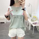 夏季新款宽松短袖t恤女显瘦印花体恤韩版圆领衣服女装女士打底衫