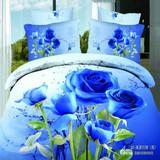 三D床单四件套 活性印花纯棉100%立体大花婚庆床品套件 纯棉加厚