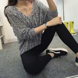 2016薄针织衫女宽松V领蝙蝠衫春夏装镂空套头大码外套百搭罩衫潮