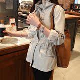 2016秋装新款女装韩版松紧收腰百搭精致修身风衣短款帅气学生外套