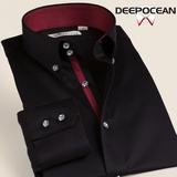 春季深海男士衬衫长袖修身款免烫韩版丝光棉男装青年商务衬衣纯棉
