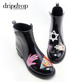 dripdrop高端定制低筒雨鞋彩色手绘风雨靴时尚女水鞋胶鞋套鞋