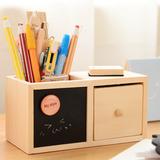 三年二班●韩国文具 单层木质黑板收纳盒 创意抽屉笔筒原木质黑
