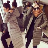 冬装新款韩版简约口袋毛球连帽修身中长款长袖保暖棉衣女外套大衣