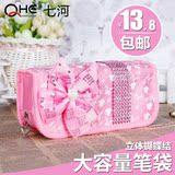 创意笔袋可爱大容量铅笔盒学生多功能简约男女韩国文具盒包蝴蝶结