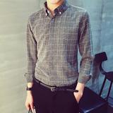 潮流男士秋季长袖衬衫商务休闲男装格子衬衣韩版修身英伦青年衣服